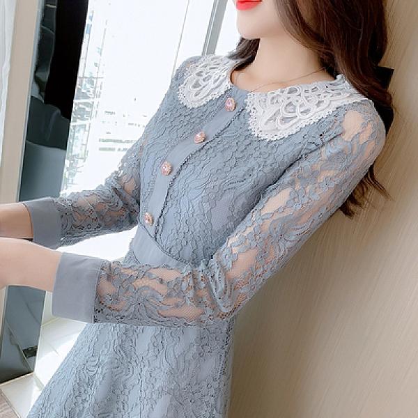 洋裝 小禮服秋季復古赫本宮廷風蕾絲娃娃領連身裙長袖收腰連身裙T539紅粉佳人
