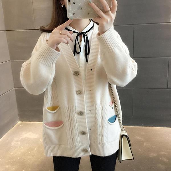 春秋韓版新款網紅V領毛衣女開衫寬松口袋針織衫學生外套上衣
