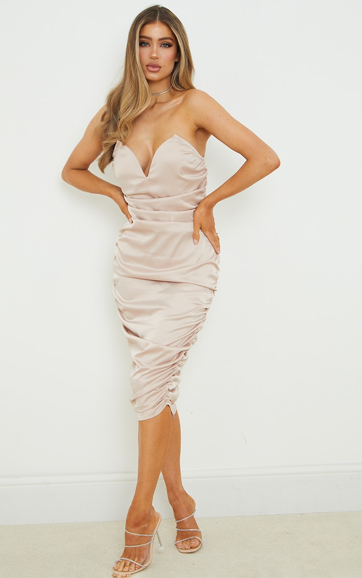 Champagne V Bar Ruched Satin Midi Dress