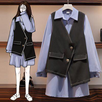 二件式 襯衫 馬甲 中大尺碼 XL-5XL秋裝新款大碼女裝洋氣襯衫馬甲兩件套寬鬆減齡網紅套裝裙 4F096-1076.胖