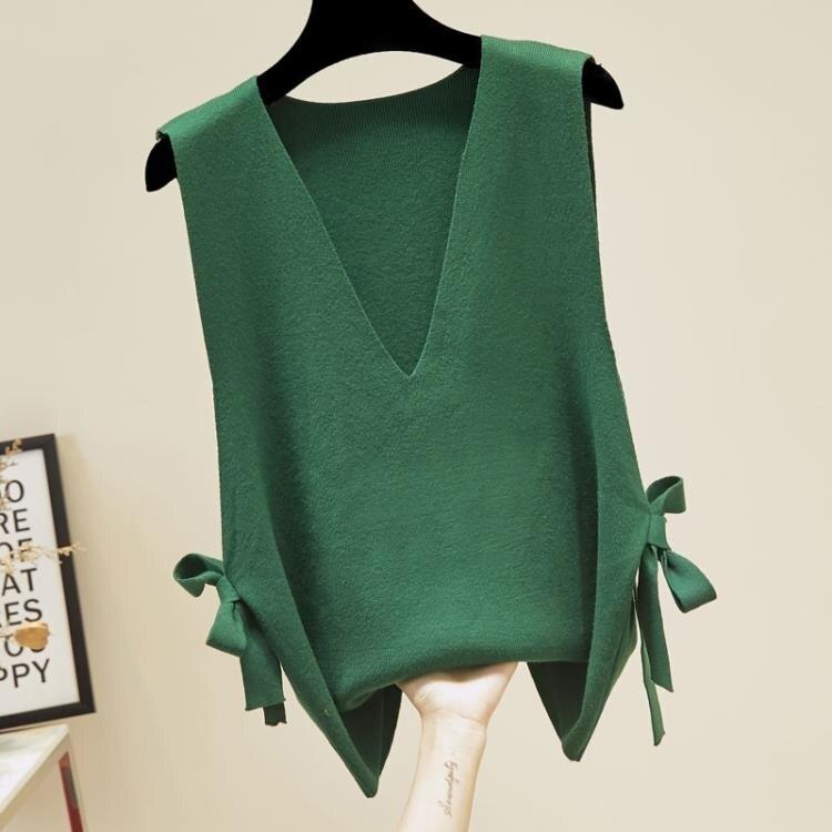 毛衣背心 女士馬甲學生韓版女潮毛衣背心針織外穿寬鬆2020春秋新款時尚坎肩