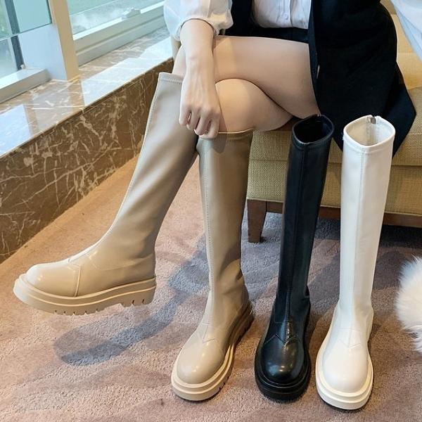 馬靴.韓版顯瘦素面皮革後拉鍊厚底長靴.白鳥麗子