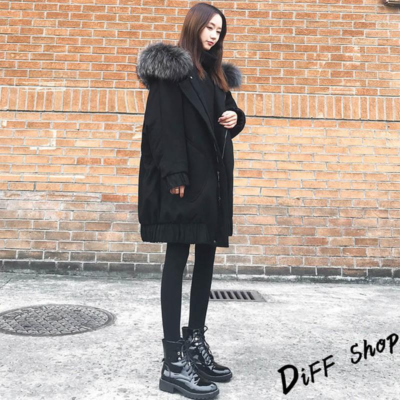 韓版寬鬆加厚蝙蝠袖大毛領外套 上衣 女裝 衣服 風衣 大衣 長版外套J115 廠商直送