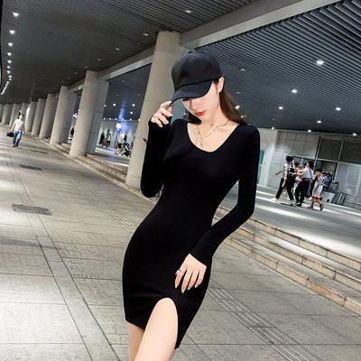 斜領開叉包臀裙秋裝年女修身顯瘦打底長袖緊身性感連衣裙.NE215D.9810胖胖美依
