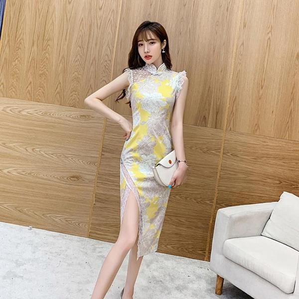 旗袍 2021年夏季新款長款法式年輕款高腰連衣裙改良版蕾絲旗袍少女風【快速出貨八折鉅惠】