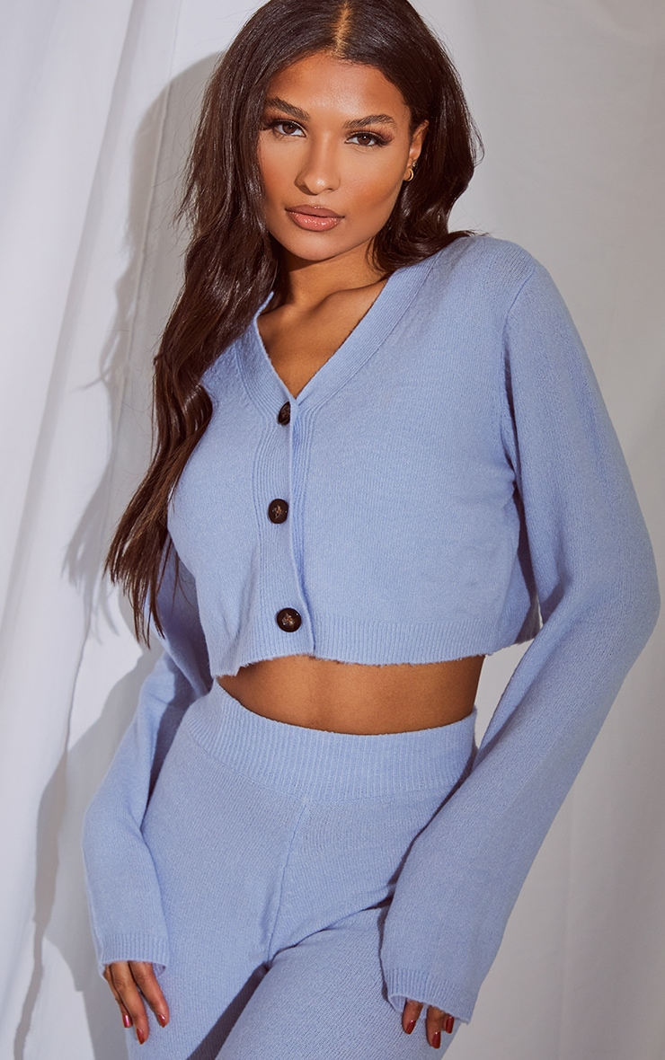 Baby Blue Soft Knit Slouchy Button Cardigan
