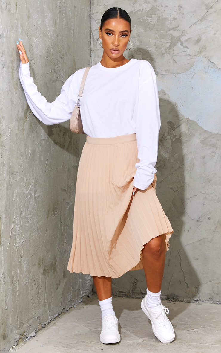 Stone Woven Pleated Midi Skirt