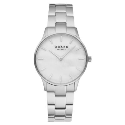 OBAKU 都會知性貝殼時尚腕錶-銀X白-V247LXCWSC-35mm