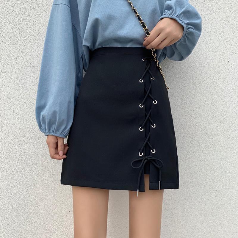 ﺴ❍2020夏季新款設計感綁帶短裙高腰防走光a字裙顯瘦半身裙包臀裙女