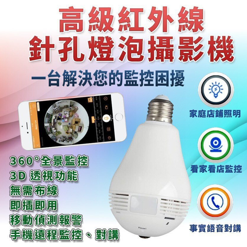 (現貨) 紅外線針孔燈泡攝影機 燈泡型監視器 無須施工 360度攝影 遠端遙控 雙向通話 智能開關