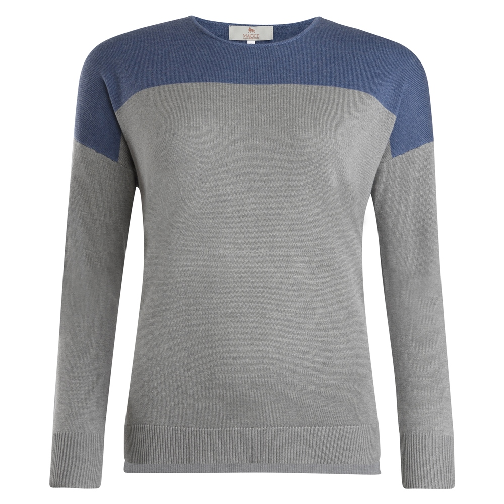 Magee 1866 Paloma Grey & Blue Silk Blend Classic Fit Sweater
