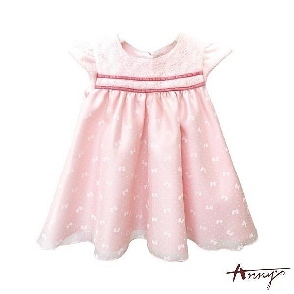【南紡購物中心】【Annys安妮公主】可愛蝴蝶結紗裙拼接秋冬款洋裝0218粉紅
