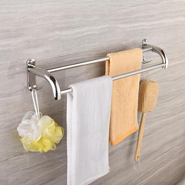 毛巾架 浴室掛毛巾架免打孔304不銹鋼衛生間毛巾桿廁所加厚雙桿墻壁掛件【快速出貨八折搶購】