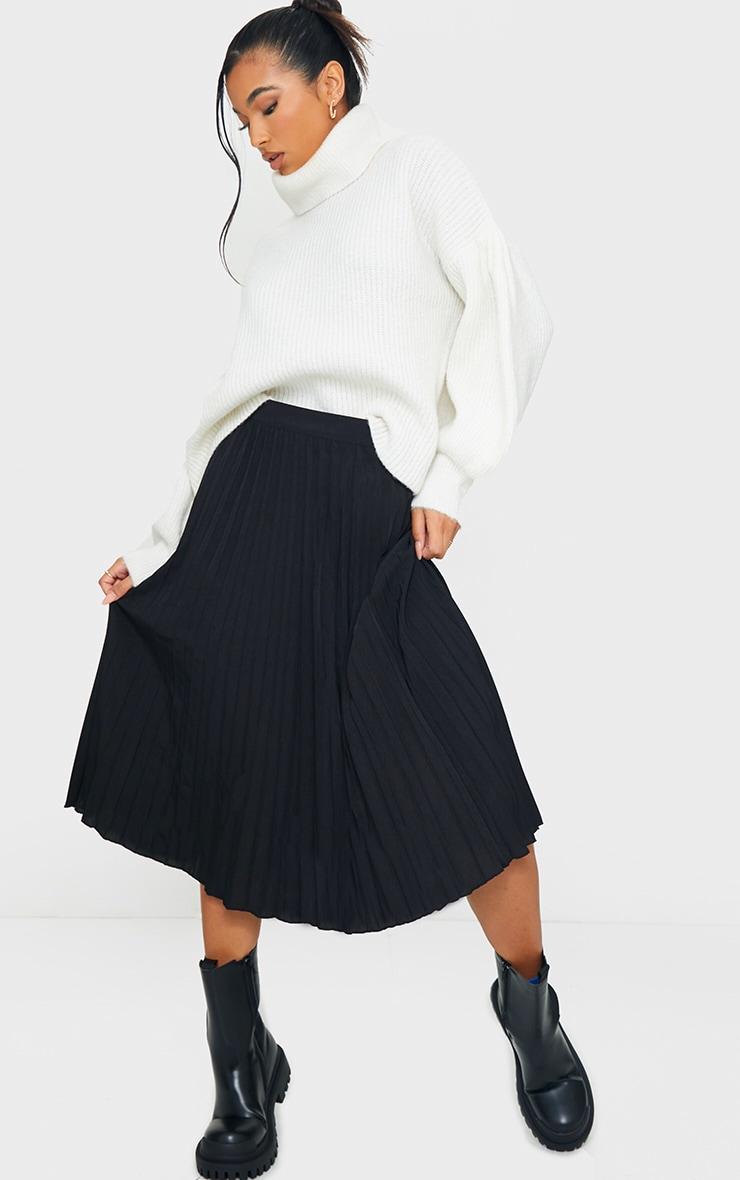 Black Woven Pleated Midi Skirt