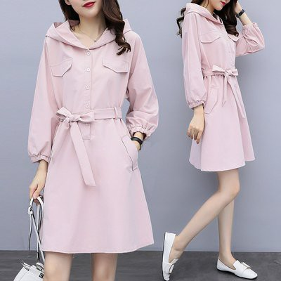 洋裝 長袖 裙子 中大尺碼 XL-5XL秋季胖mm洋氣時尚顯瘦連帽連身裙4092-2092.胖胖美依