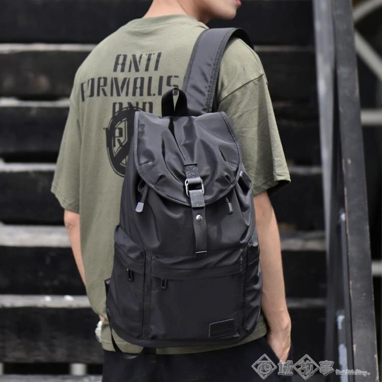 後背包 男士雙肩包休閒旅行包時尚潮流大容量抽繩背包書包大學生簡約防水