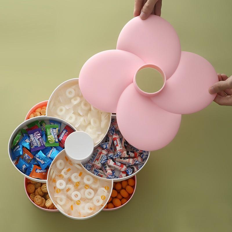 現貨 雙層旋轉水果盤創意花瓣糖果盒過年客廳家用零食干果收納盒瓜子盤