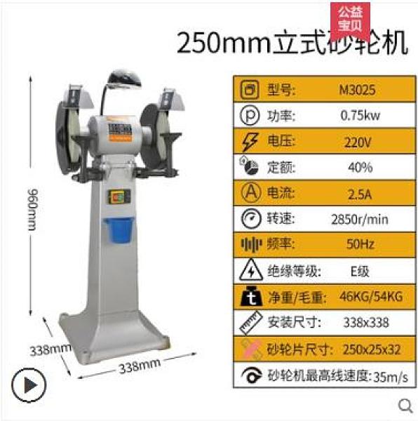 砂輪機 林立砂輪機臺式立式250mm工業級重型打磨家用落地式沙輪機380v 薇薇mks