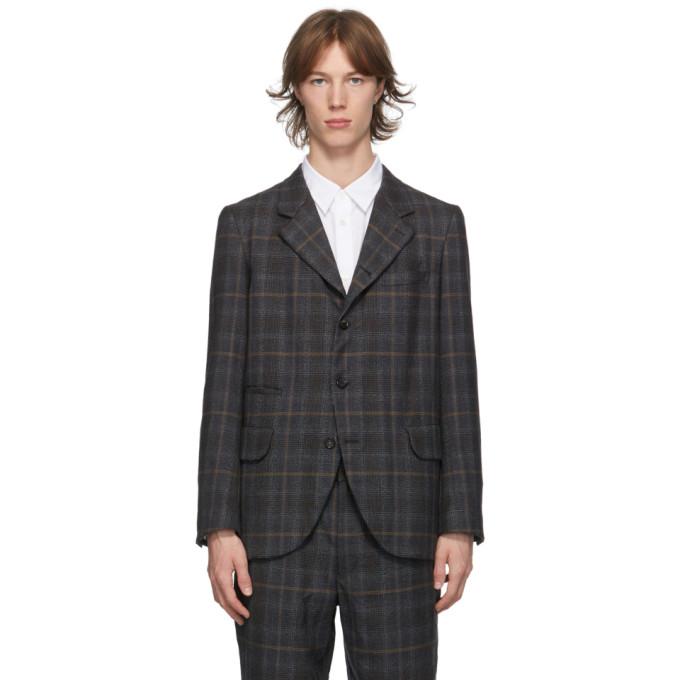 Comme des Garcons Homme Deux 灰色葛伦格纹羊毛西装外套