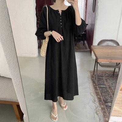 洋裝 長版裙 韓國 簡約款 連身裙 MB156-7612.胖胖美依