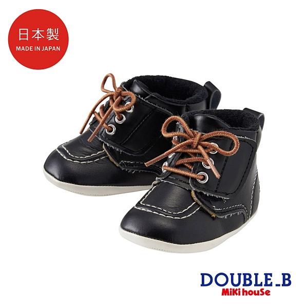 DOUBLE_B 日本製 寶寶軟底學步皮鞋(黑)