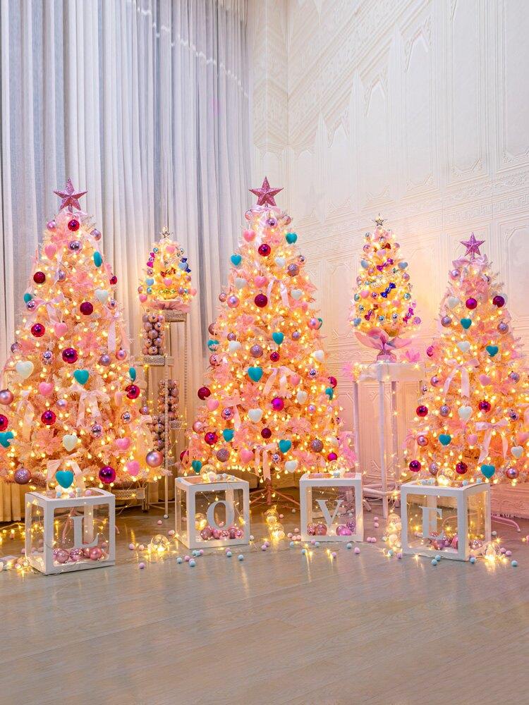 圣誕樹家用粉色裝飾0.6/0.9/1.5/米套餐圣誕節漸變色自動樹網紅