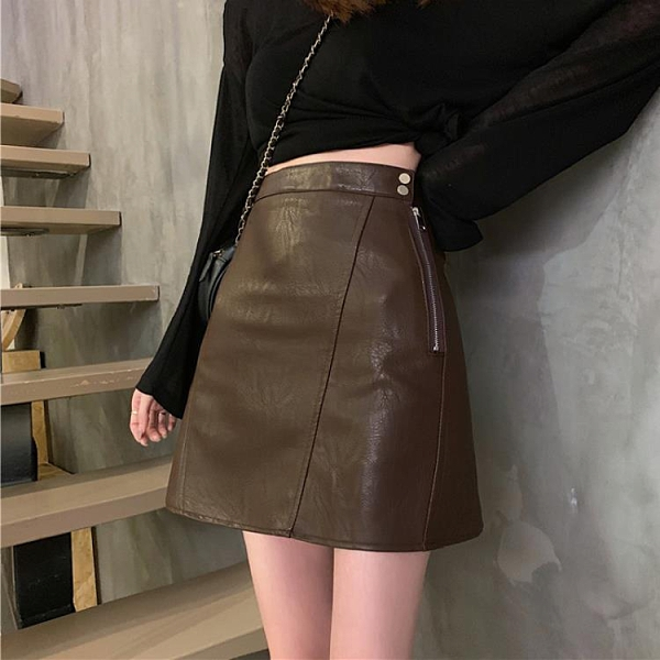 皮裙 春季2021年新款半身裙女學生高腰顯廋PU皮短裙時尚a字包臀裙子 【快速出貨八折鉅惠】