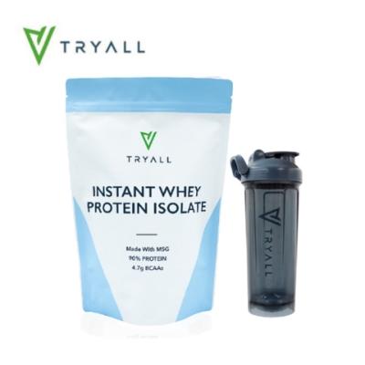[台灣 Tryall] 無添加分離乳清蛋白(MSG分裝) (500g/袋)+[台灣 Tryall] Tritan U底搖搖杯(700ml) 藍灰
