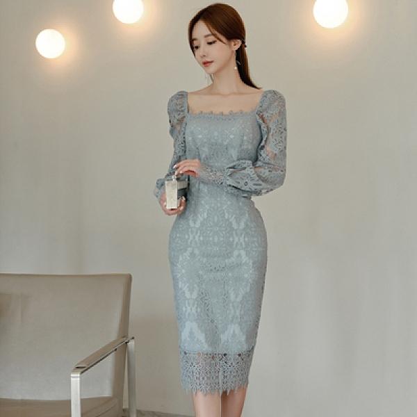 OL洋裝 禮服裙7432#秋冬韓版氣質修身顯瘦中長款蕾絲花邊包臀連身裙女NE49快時尚