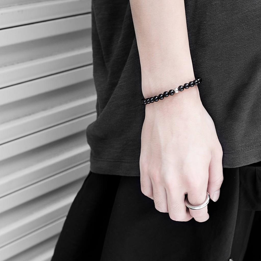 Recovery 亮面6MM串珠手環(黑、白、黑膽石)