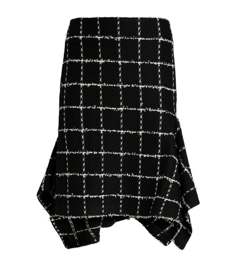 St. John Eyelash Check Side-Ruffle Skirt