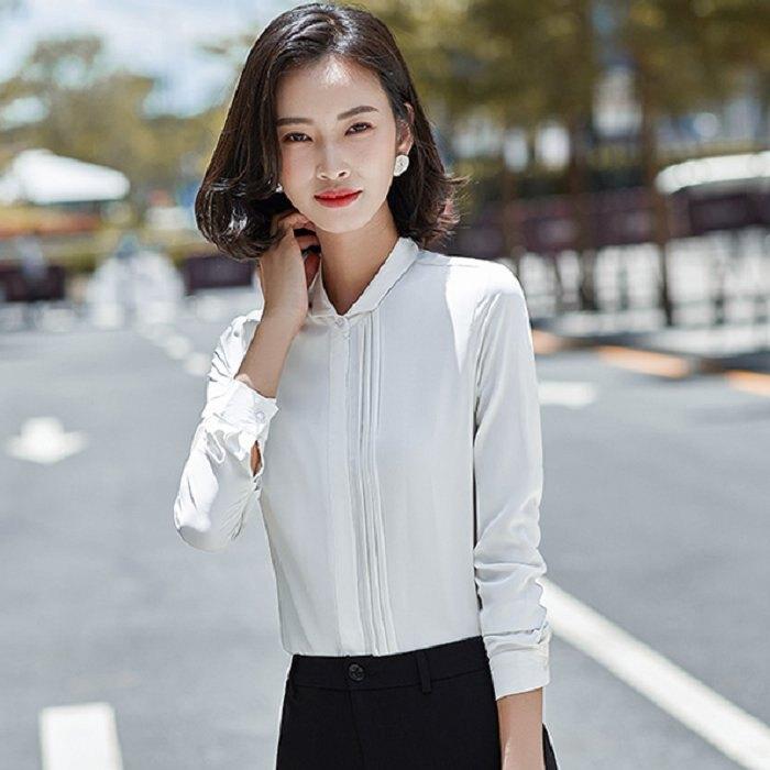 單邊壓褶職業上班長袖襯衫[20S236-PF]灰姑娘