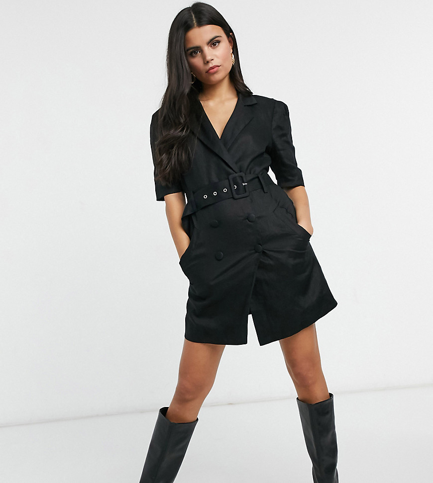 Collective the Label Petite tuxe mini dress with belt in black