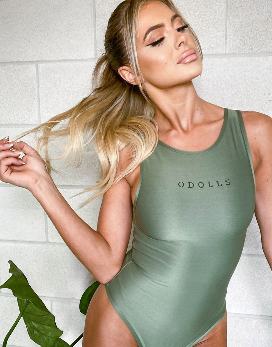 ODolls Collection logo sleeveless body in khaki-Green