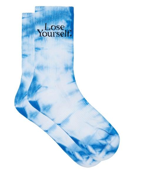 Paco Rabanne - Lose Yourself Tie-dye Cotton-blend Socks - Womens - Blue