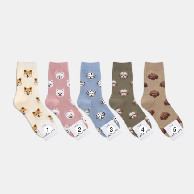Chemistry_Girls - 韓國 KRSK0160 女款 Mini Doggy 中筒襪 / 小腿襪 (五色)