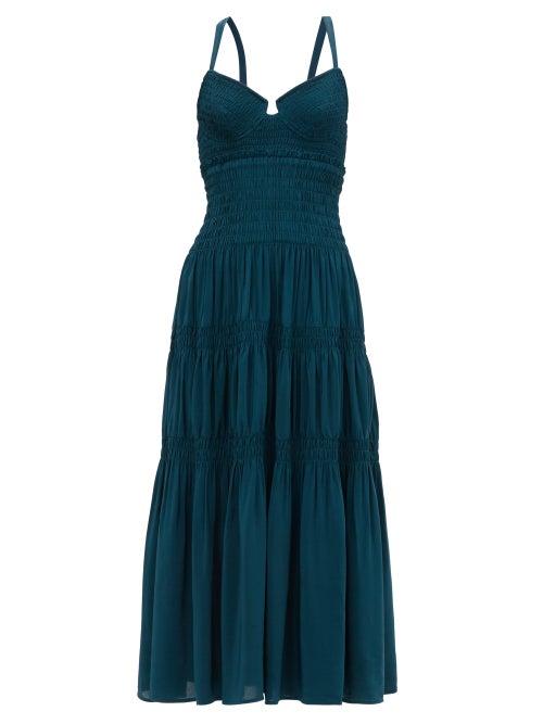 Proenza Schouler - Crossover-back Shirred Crepe Midi Dress - Womens - Dark Green