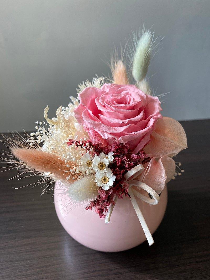 永生花 乾燥花 索拉花  圓形盆花造型 送禮 客製化