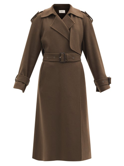 The Row - Yeli Felted Cashmere-blend Trench Coat - Womens - Mid Brown