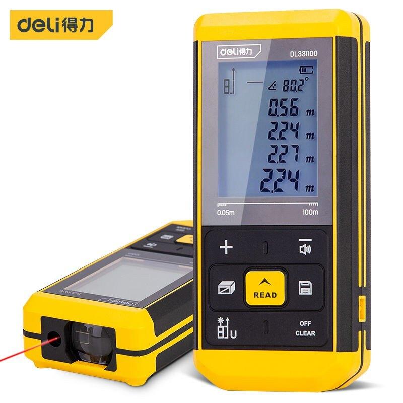 得力激光測距儀鋰電高精度手持紅外線測量儀量房距離儀激光電子尺 交換禮物