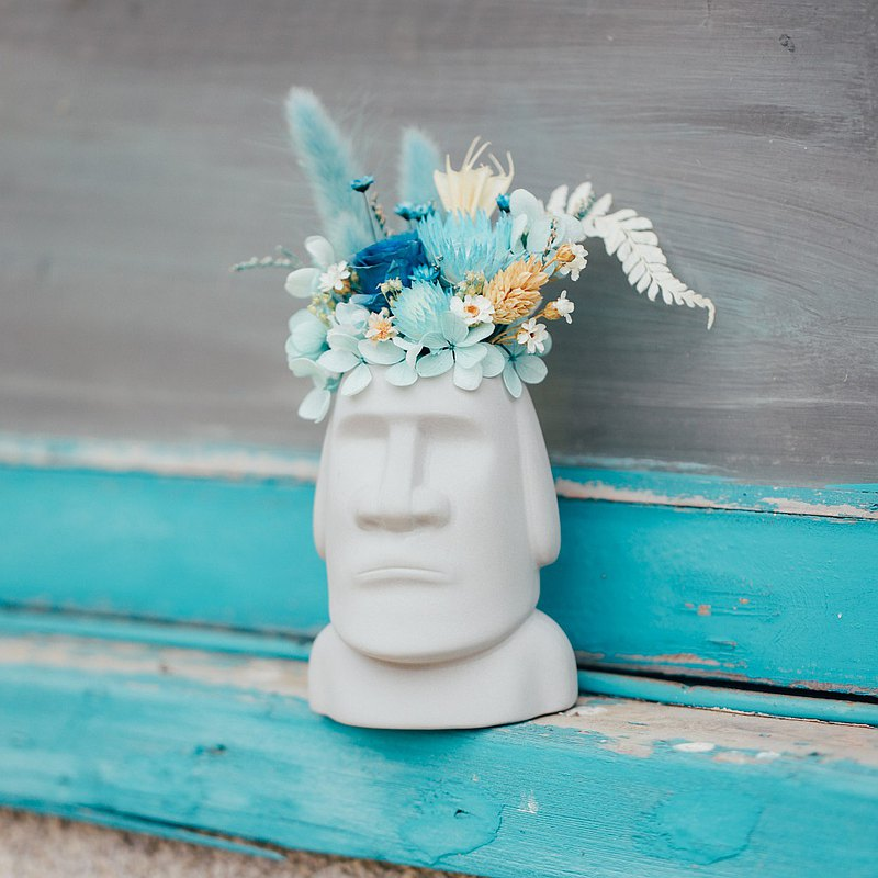 摩艾石像永生花盆 乾燥花搭配