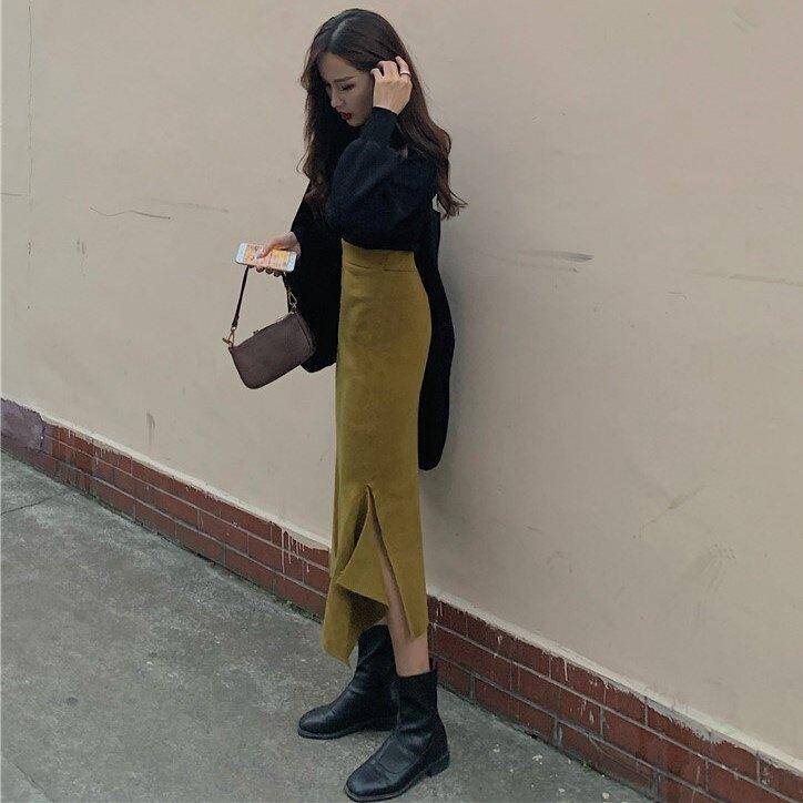 秋季新款氣質V領上衣+高腰開叉魚尾半身裙兩件套時尚套裝女裝