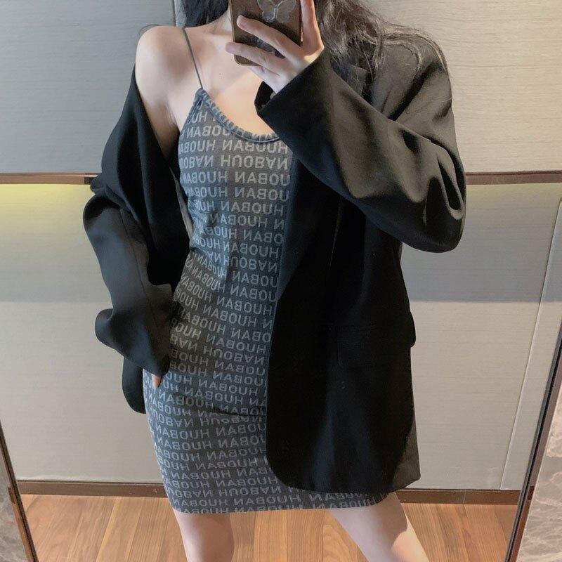 秋季新款中長款西裝外套+性感字母吊帶裙兩件套時尚套裝女裝