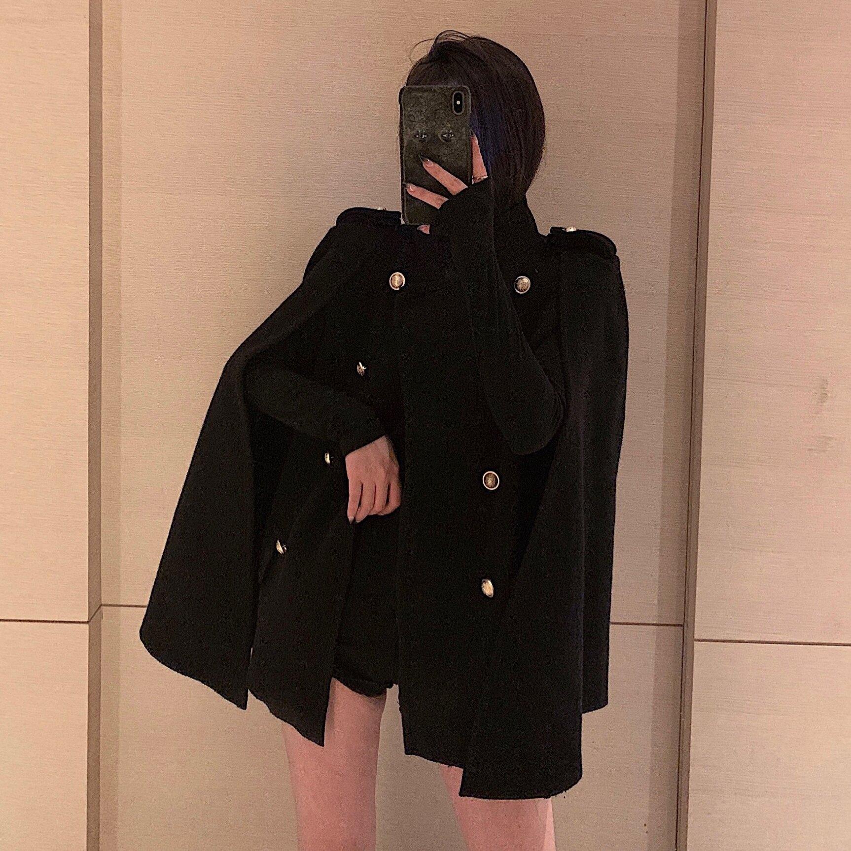 年秋冬季新款英倫風長袖斗篷毛呢外套氣質寬松中長款上衣女裝