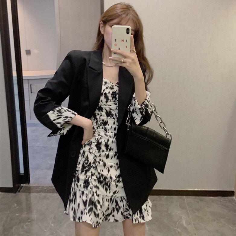 秋季新款氣質西裝外套+韓版碎花吊帶裙兩件套時尚套裝女裝潮