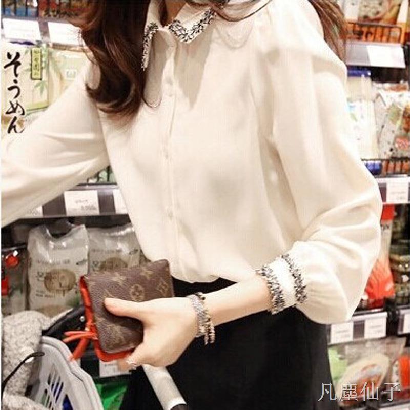 【襯衫~】2020春夏季新款韓版百搭打底襯衣修身顯瘦長袖OL職業氣質白色襯衫女