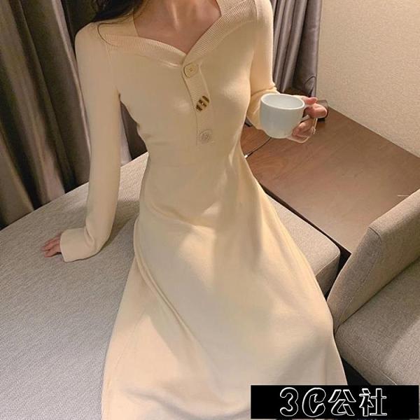 針織連身裙 很仙的冬季配大衣的毛衣裙內搭修身顯瘦中長款過膝針織打底連身裙 快速出貨