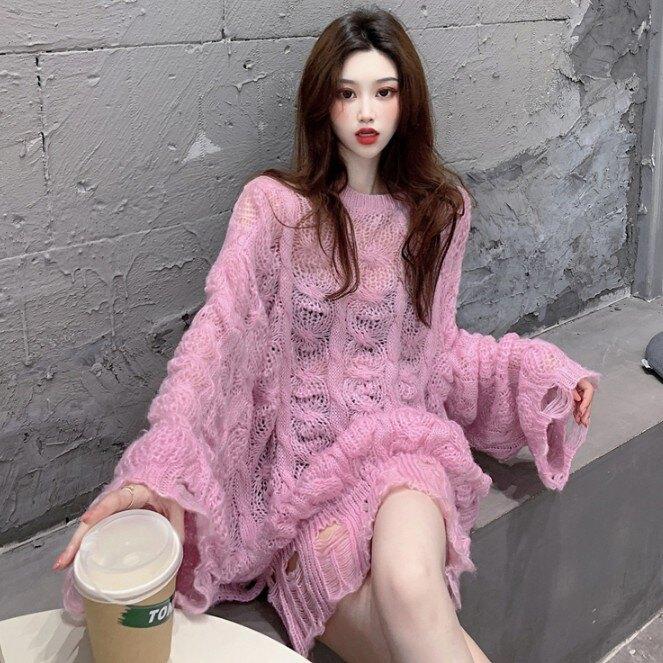 秋季新款中長款破洞鏤空麻花套頭毛衣針織衫寬松長袖上衣女裝