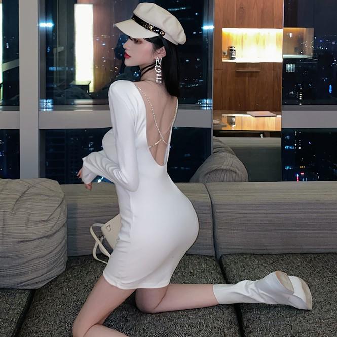 年秋季新款性感露背鉆鏈裙子長袖打底短裙顯瘦包臀連衣裙女裝
