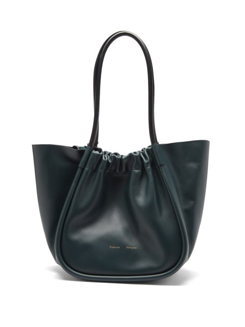 Proenza Schouler - Ruched Large Leather Tote Bag - Womens - Green